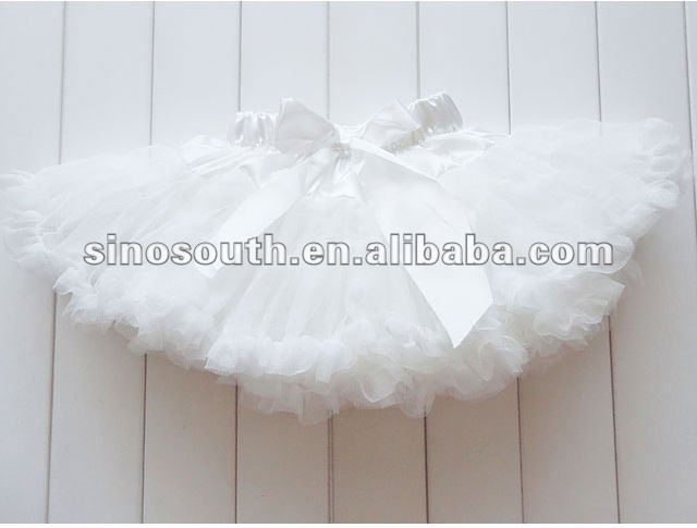 free shipping girls ribbon fluffy chiffon tutu skirts princess white pettiskirt baby girl