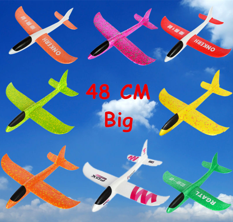 48cm Big Hand Launch Throwing Foam Plane EPP Airplane Model Glider Plane Aircraft Model Outdoor DIY Educational Toy For Children 48cm foam plane glider aircraft airplane model led night hand throw flying glider epp toy for children