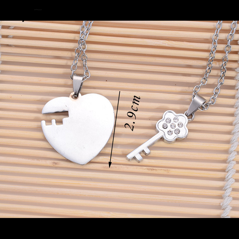 277b7f46be New Heart Key Matching Couple Necklaces For Lovers Fashion Stainless Steel  Love Necklace Set Paired Pendants Couple Jewelry