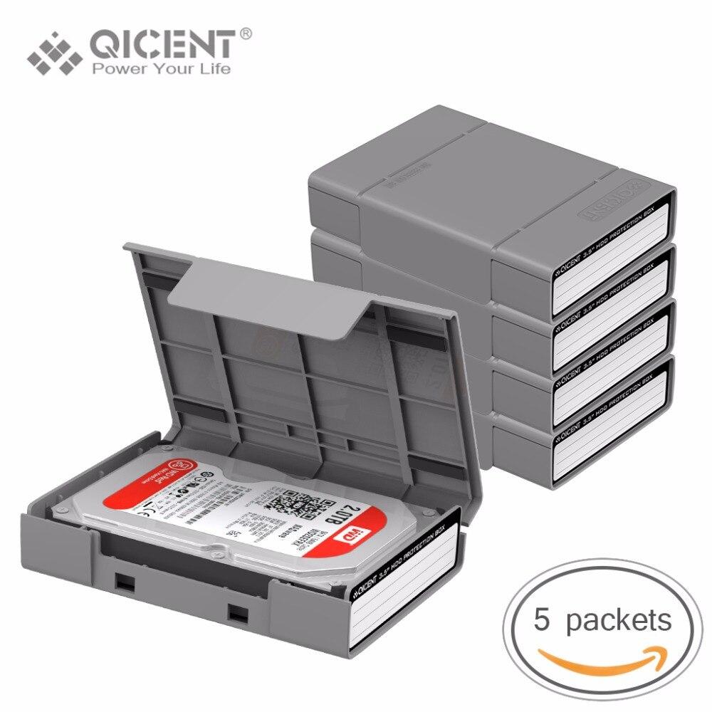 QICENT 5Psc/lot Portable 3.5'' External SATA IDE SAS Hard Drive Storage Protective Case Cover - Gray Color