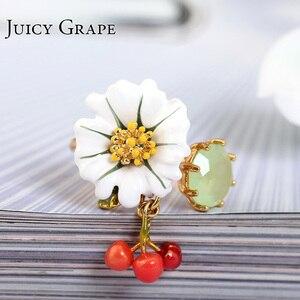 Image 2 - יקירי אמייל זיגוג לבן דייזי פרח קריסטל דובדבן הפתח טבעת יכולה להתאים