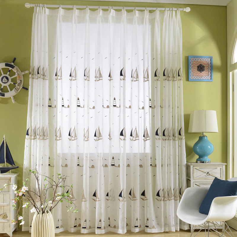 {Byetee} Sailing Blue Curtain Window Customize Yarn Embroidery Curtains  Child Baby Boys Room Bedroom
