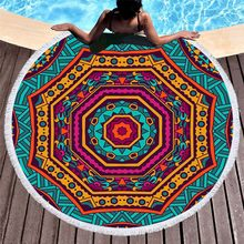 3D Printed Geometric patterns Microfiber Round Beach Towel for Adults Summer Toalla Tassel Yoga Mat T400(China)