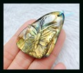 Natural Stone Carved Butterfly Yellow Labradorite Pendant,44*29*7mm,13.4g stone carved pendant  labradorite necklace beads