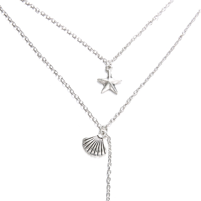 Starfish Shell Mermaid Tail Pendant Necklaces