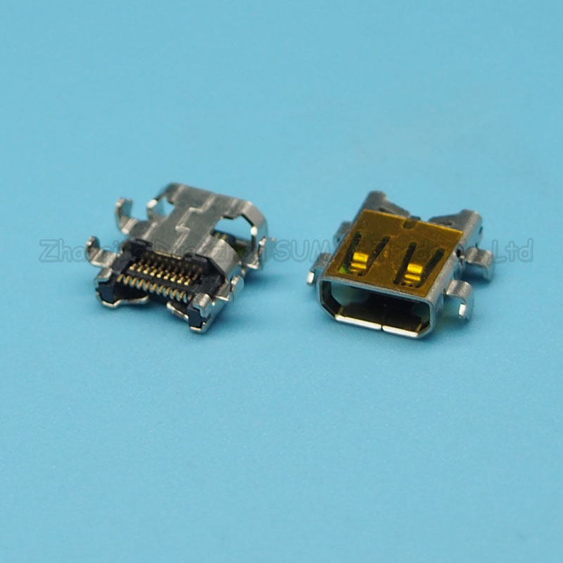 35pcs/lot 19PIN HDMI JACK D TYPE MICRO HDMI FEMALE SOCKET CONNECTOR SMT 4 FIX FOOT ...