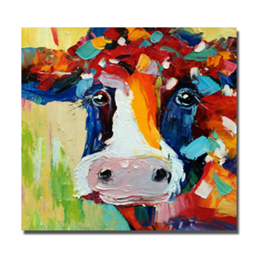 Oil Color Cow Pictures No Framed And With Framed Oil Painting Canvas