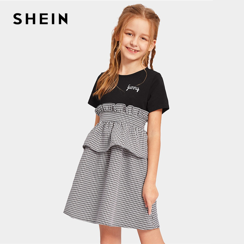 SHEIN Kiddie Girl Zipper Back Ruffle Plaid Colorblock Casual Dress 2019 Summer Short Sleeve High Waist Mini Dresses For Teenager lielang genuine leather mens wallets brand logo zipper design short men purse vintage casual mini male purses card holder walet