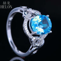 HELON Sterling Silver 925 10x8mm Oval Shape Blue Topaz Ring Engagement Wedding Natural Fine Diamonds Ring