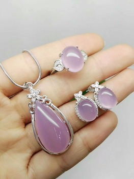 Natural chalcedony S925 Silver Inlay Necklace Earring transparent exquisite style atmosphere gift