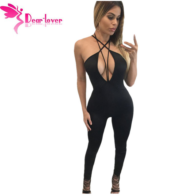 Dear Lover Hot New Sexy Long Playsuit Khaki Plunging V Neck Strappy Bodycon Jumpsuit Overalls Enteritos Mujer Club Wear LC64031