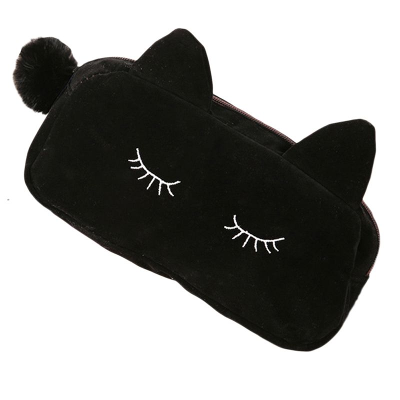 Pleuche Cartoon Fashion Women Girls Cat Makeup Bags Coin Storage Case Travel Flannel Pouch Cute Eye Eyelashes Cosmetic Bag
