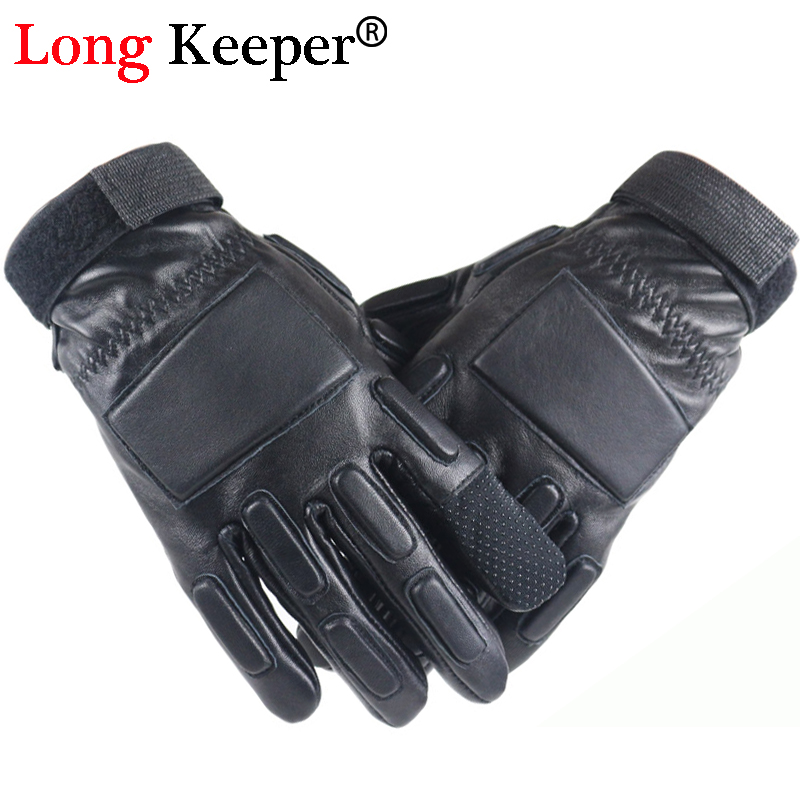 Mens Tactical Gloves Military Touch Screen Genuine Leather luvas Full Finger Male Outdoor eldiven By Long Keeper G271