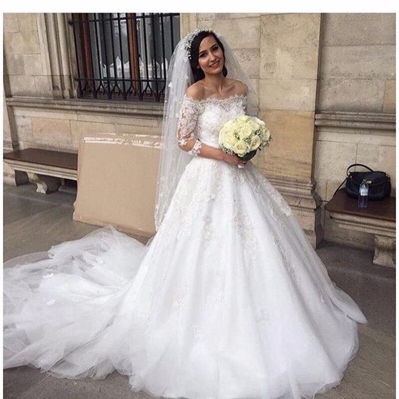 Robe de mariage Vestidos de Novia de Encaje Del Hombro de Lentejuelas Una Línea