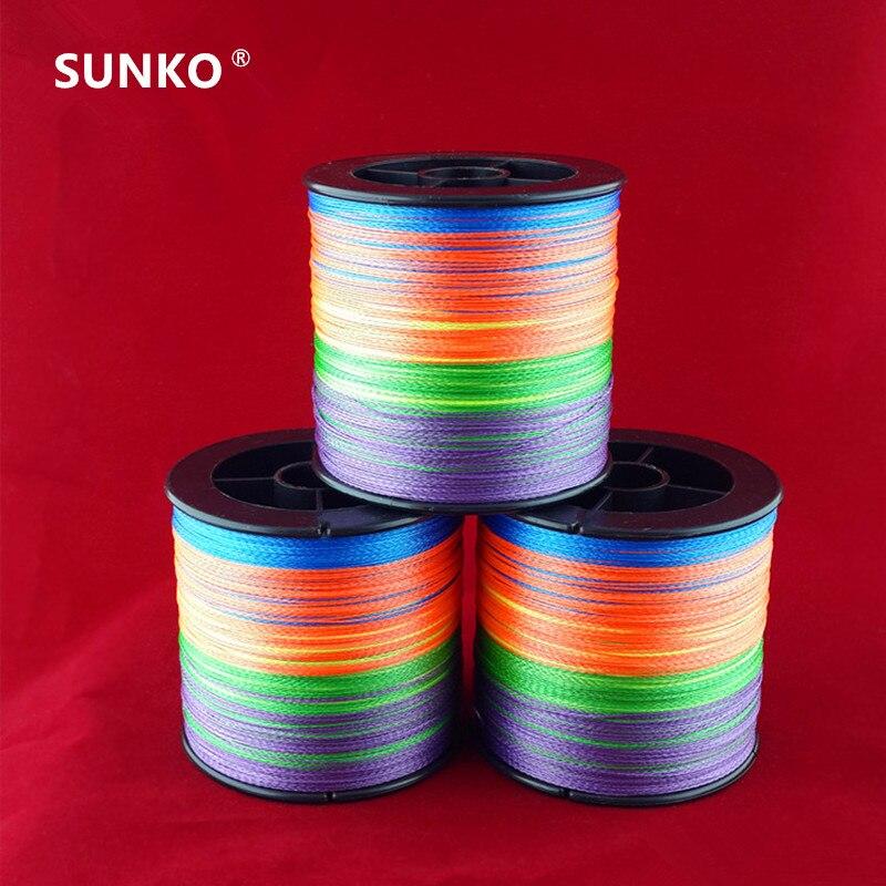 Genug 300 Mt SUNKO Marke 8 10 20 30 40 50 60 70LB Super Strong Japanischen bunte Multifilament PE Material Geflochtene Angelschnur