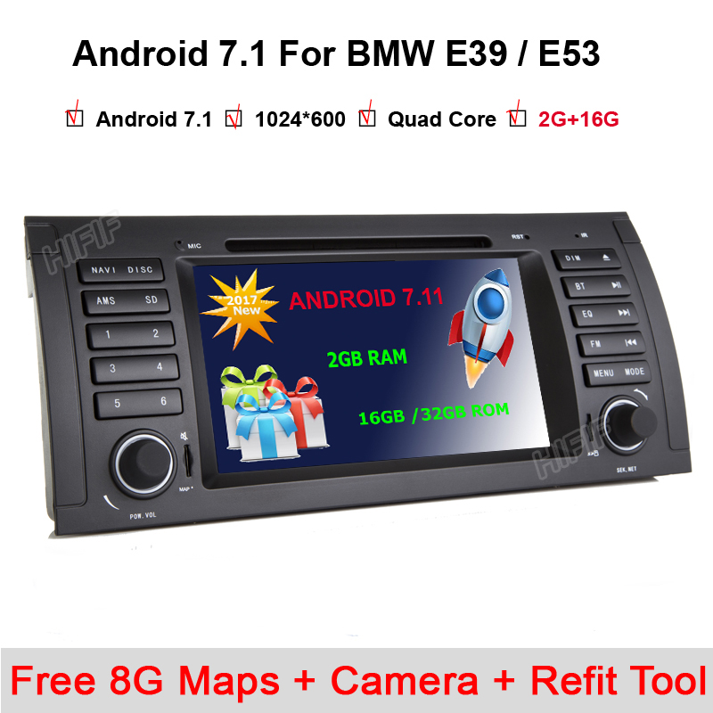 Free shipping 7'' Android 7.1.1 Car DVD for BMW E53 E39 X5 with Wifi 3G Quad 1024X600 Bluetooth Radio WIFI Free camera 8G Maps