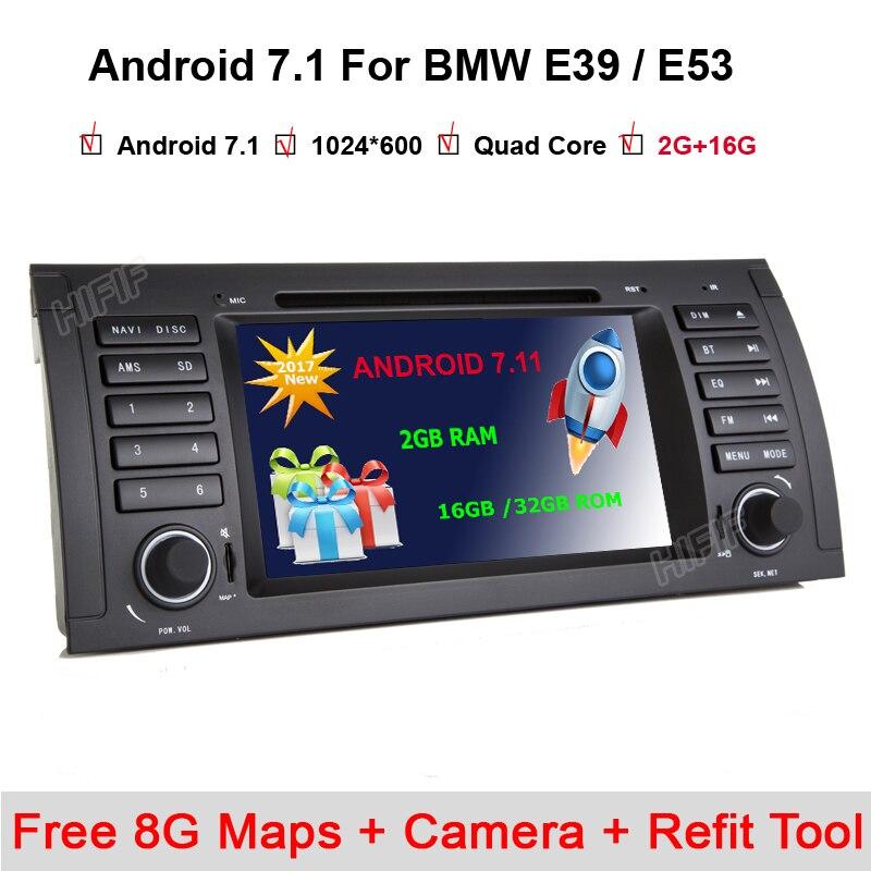 Livraison gratuite 7 ''Android 7.1.1 DVD de voiture pour BMW E53 E39 X5 avec Wifi 3G Quad 1024X600 Bluetooth Radio WIFI caméra gratuite 8G cartes