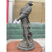 free 17Western pure bronze Copper & marble parrot bird Statuary statue fast