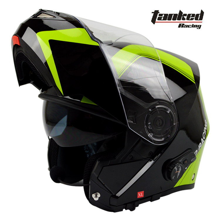Tanked Racing Flip Up helmet casque bluetooth capacetes motorcycle helmet moto Built-in bluetooth intercom dual lens ECE appoved