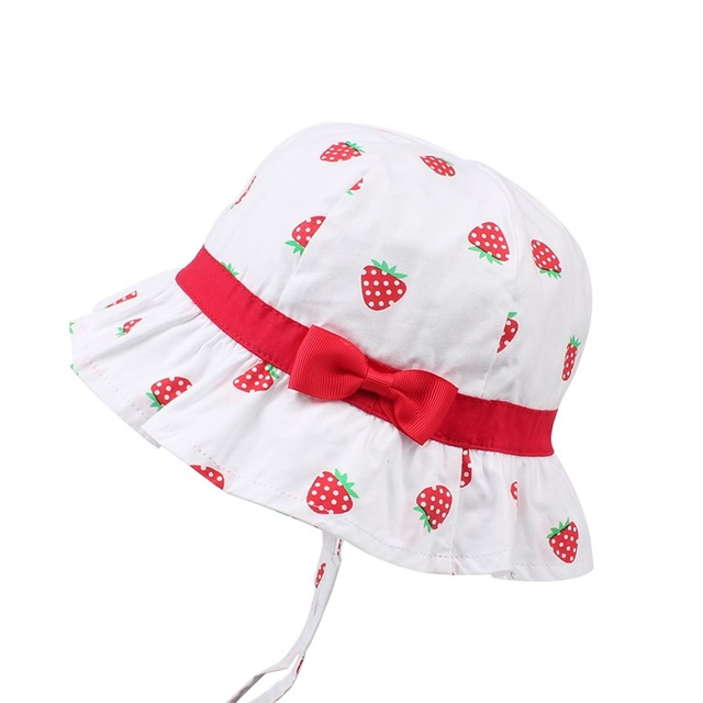 0f798ad5891 Bow Girls Bucket Hat Stawberry Print Cute Hat For Girl Cotton Sweet Summer  Sun Cap Wide