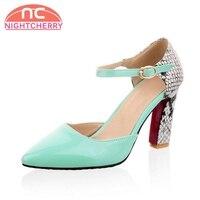 NIGHTCHERRY Size 30 46 5 Colors Women High Heel Sandals Buckle Snakeskin Pattern Sandals Sexy Eelgant Shoes Party Footwear