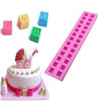 Inglés letras 3D Baby building block fondant cake moldes molde de chocolate para la cocina de hornear sugarcraft herramienta de decoración A948