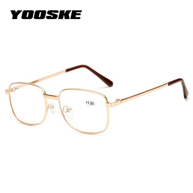 YOOSKE Men Reading Glasses Women Metal Frame Prescription Glasses Elderly Presbyopic Eyeglasses Hyperopia Diopter +1.5 +2.5
