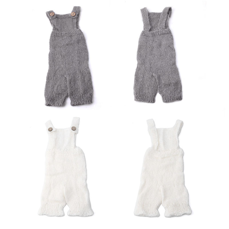 Newborn Baby Infant Knitted Mohair Rompers Overalls Props Photography Outfits newborn baby pants with bear hat set knitted pants newborn photo props baby photography props baby rompers
