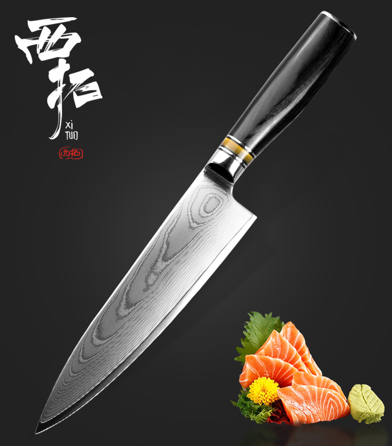 XITUO Damascus Steel Chef Knife 8 Inch vg10 Professional meat Cleaver Fish Fillet Vegetable Utility Santoku