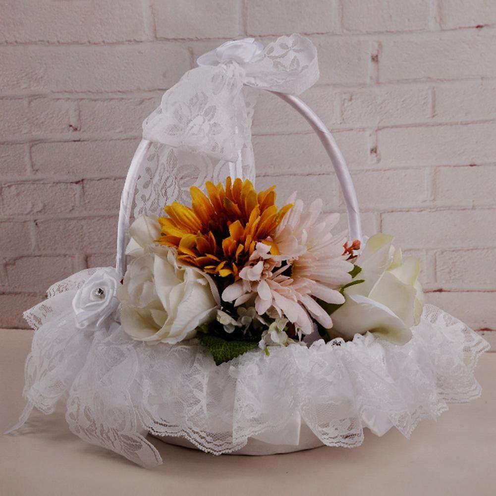 Online shop 2 pcs wedding flower basket bridesmaid wedding hand bamboo weaving portable flower basket wedding romantic girl wedding supplies lace satin wedding basket cute for izmirmasajfo