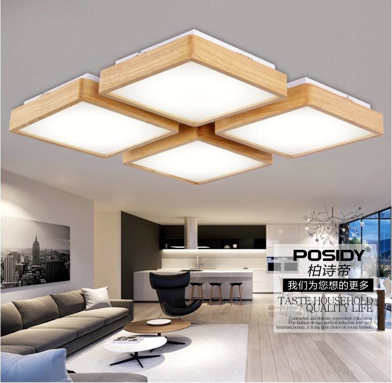 New Design Ceiling Lights : New wooden led ceiling light for living room