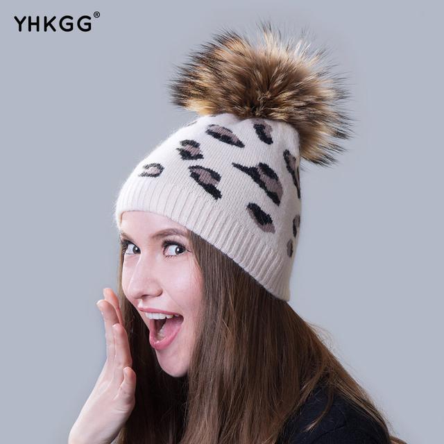 Ms. cashmere chapéus 2016 gorros gorros mais recente casuais com pele de leopardo bola para fazer compras