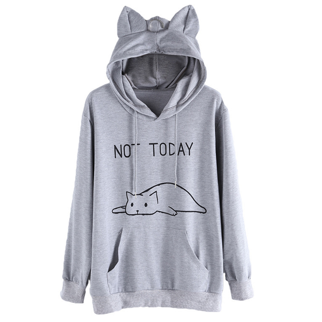 Ears Hooded Sweater Netted Cat Cap Casual Hoodie Pullover Sweatershirt For Women