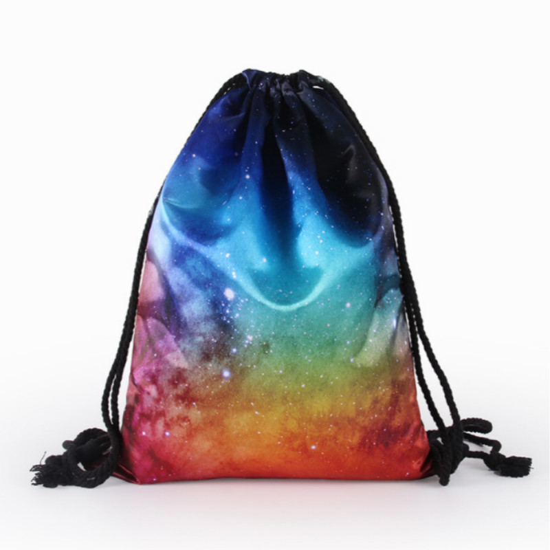 Satin-like Cotton Fabric Drawstring Backpack Gym Sport Drawstring Bag School Rucksack Pouch For Teen