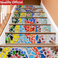 Artistic and artistic color stone design staircase stickers living room bedroom kindergarten waterproof decorative wall stickers