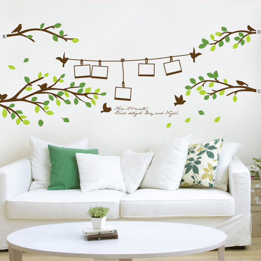 hot selling 200*80cm photo frame tree birds 3D wall decals stickers ...