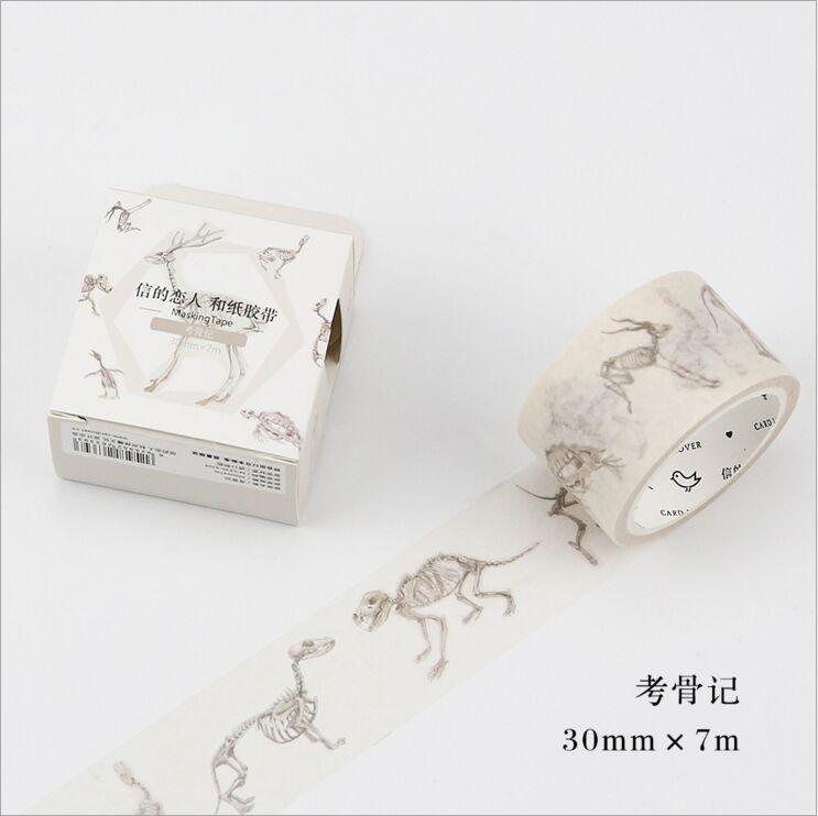 30mm Wide Ancient Archaeology Bone  Happy Life Washi Tape DIY Decoration Planner Scrapbook Sticker Label Masking Tape