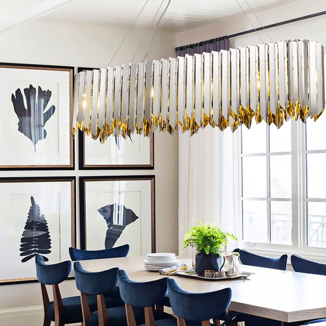 Nouveau classique pendentif lumières en acier inoxydable plaqué or chrome de luxe décoratif LED hôtel hall salon éclairage lampe
