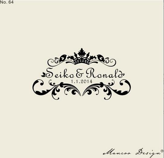 Personnalisé personnalisé timbres de mariage Invitation carte Seal Date Couples Name Stamp bricolage cartes timbres faveurs de mariage 2.36