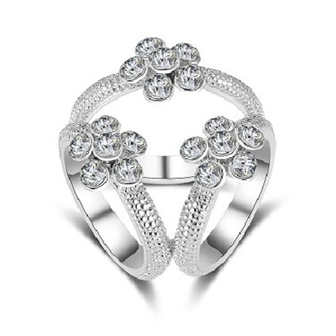 Silver Jewelry Flower Silk Tricyclic Buckle Crystal Scarf Buckle Ring Holder