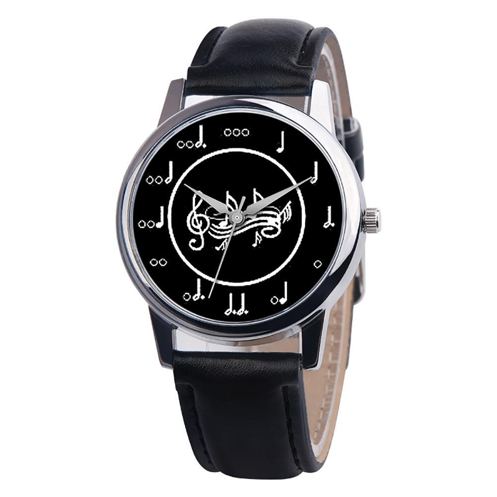 New Fashion Music Note Analog Round Dial Faux Leather Band Unisex Quartz Wrist Watch clock women horloge dames