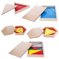 Montessori Wooden Material Toy Constructive Triangles Rectangular Pentagon