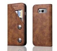 בציר כרטיס מקרי Flip עור מגנטי סטנד לסמסונג גלקסי S8 בתוספת Iphone 6 6 s 7 בתוספת מקרה כיסוי ארנק ברונזה רטרו חדש
