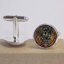 1pcs Cthulhu R'lyeh Sigil H.P. Lovecraft Cuffink jewelry Glass Cabochon Cuffinks Bangle