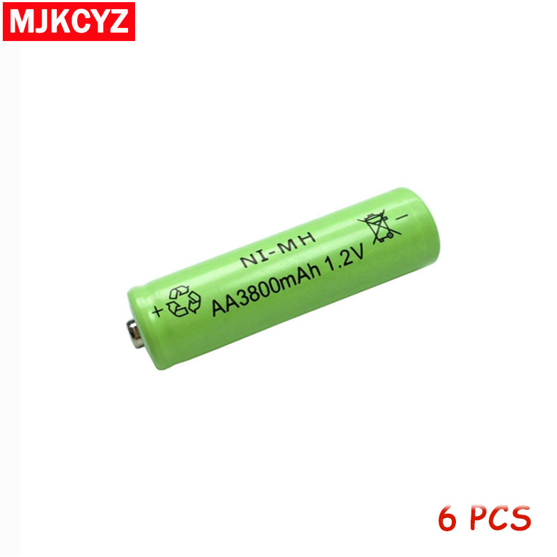 6Pcs 1.2V AA 5# 2A aa NI-MH Battery battiries batteria 3800mAh Rechargeable Low self large Capacity camera toys free shipping