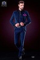 Последние Пальто Пант Дизайн итальянский Темно синие бархат мужской костюм Slim Fit 3 предмета смокинг на заказ Костюмы жениха Пром Блейзер TERNO