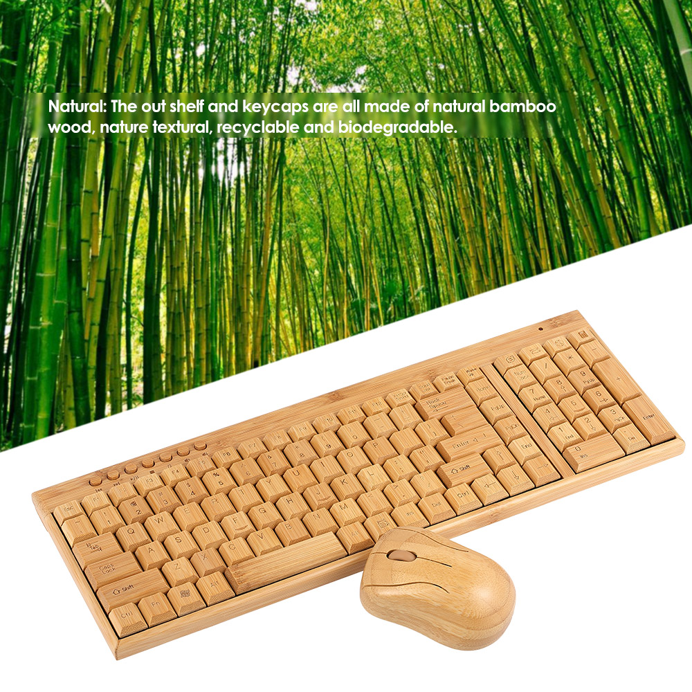 Handcrafted 2.4G Wireless Natural Bamboo Wood PC Keyboard & Mouse Set Computer Keyboard Plug and Play office home 10
