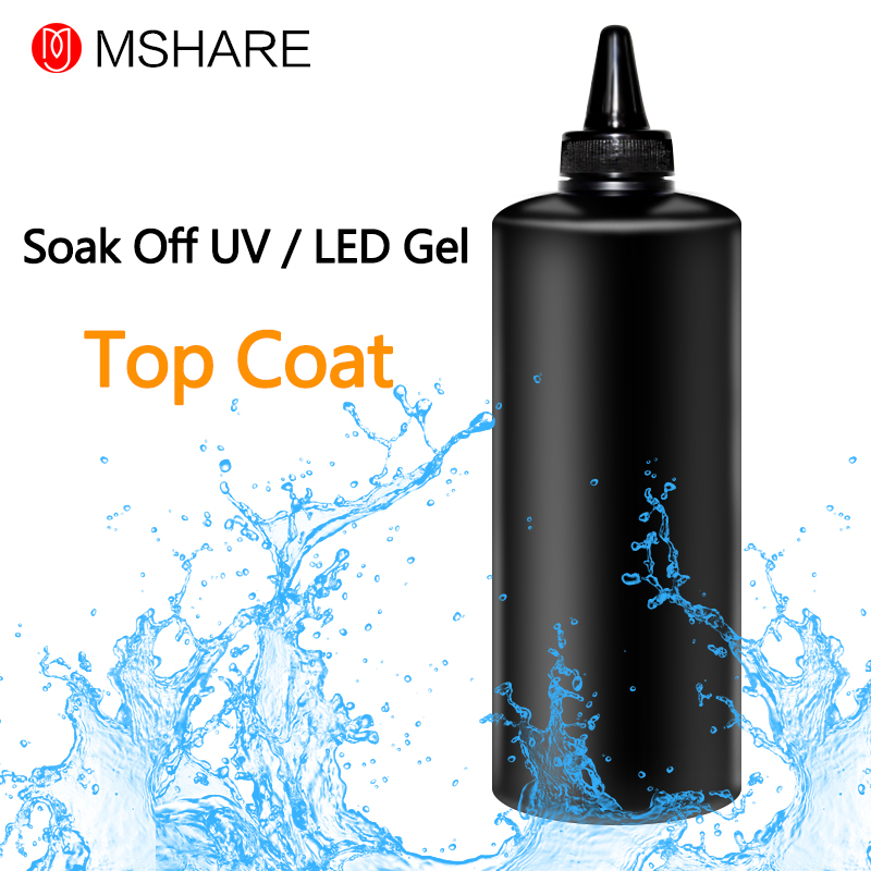 MSHARE 1KG Top Coat Long Time Shinning Soak off Gel Nail Polish Wiping Top Coat Big Max Range Cleansing Sticky Layer
