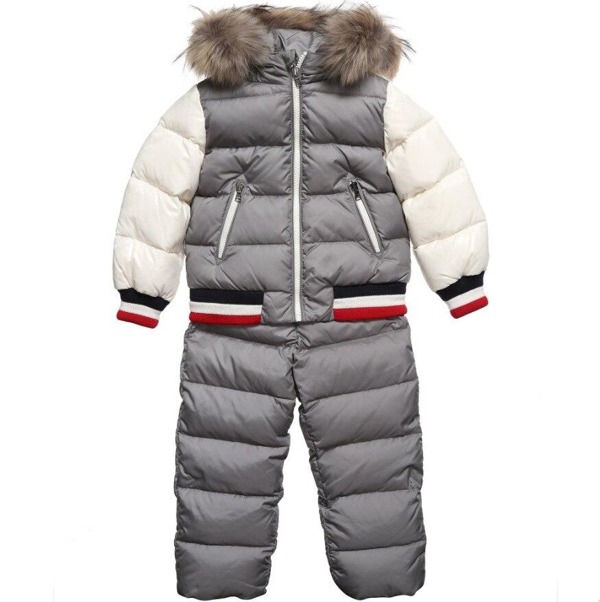 Winter Boy Down Jacket with Down Pants Baby Boy Down Coat 2PCS Natural Fur Collar Children Down Jacket BLACK SILVER RED 2T-12T down jacket jaxx пуховики в стиле пальто