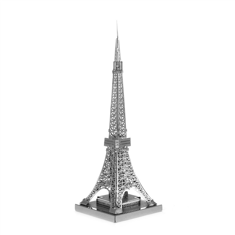 Tokyo Tower 3D Metal Puzzle Kids Toys DIY Building Model Creative Gift Assembly Learning Toys Jigsaws Puzzle for Boy series s 3d puzzle paper diy papercraft double decker bus eiffel tower titanic tower bridge empire state building